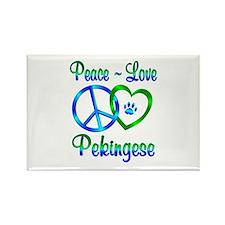 Peace Love Pekingese Rectangle Magnet