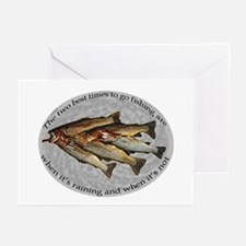 the two best times to go fish Greeting Cards (Pack