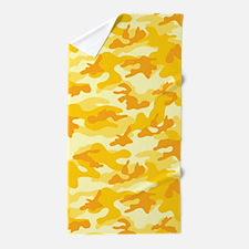 Golden Yellow Camo; Camouflage 1 Beach Towel