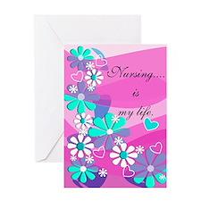 Nursing is my life pink Greeting Cards