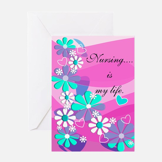 Nursing is my life pink Greeting Cards