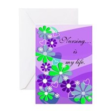 Nursing is my life purple Greeting Cards