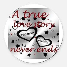 True Love Story Round Round Car Magnet
