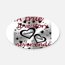True Love Story Oval Car Magnet