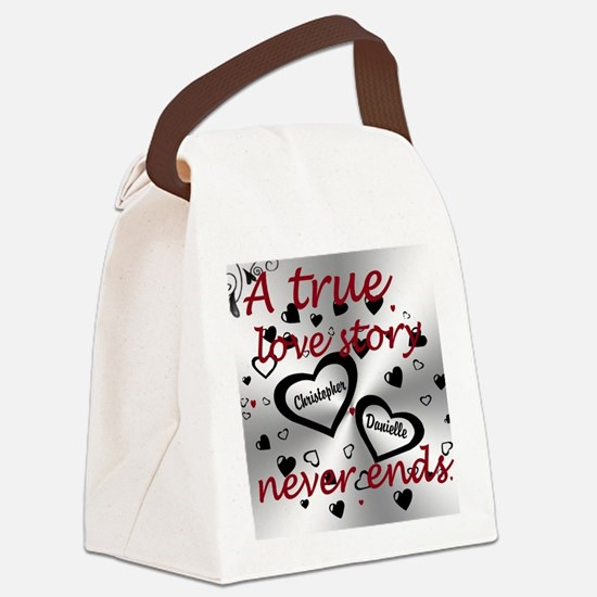 True Love Story Canvas Lunch Bag