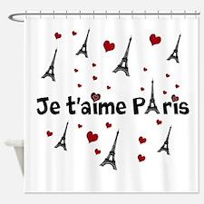 Cute French I LOVE PARIS Shower Curtain