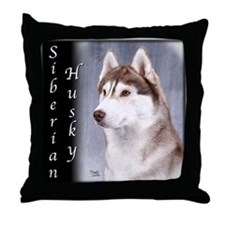 Siberian Husky Red Throw Pillow