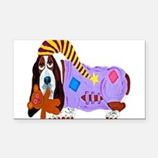 Basset Hound Bedtime Rectangle Car Magnet