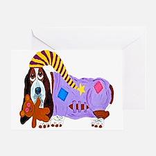 Basset Hound Bedtime Card Greeting Cards