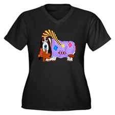 Basset Hound Women's Plus Size V-Neck Dark T-Shirt