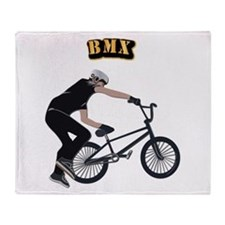 BMX With Text Throw Blanket