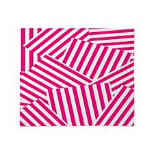 Bold Pink Choppy Stripes Throw Blanket