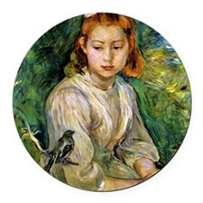 Young Girl with a Bird, Berthe Mo Round Car Magnet