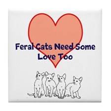Cute Feral cats Tile Coaster