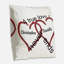 A True Love Story: Personalize Burlap Throw Pillow