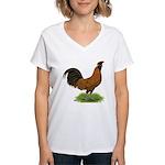 Gold Brabanter Rooster Women's V-Neck T-Shirt