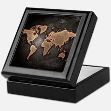 Vintage World Map Keepsake Box