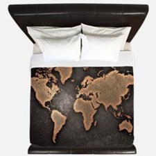 Vintage World Map King Duvet