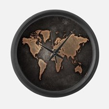 Vintage World Map Large Wall Clock