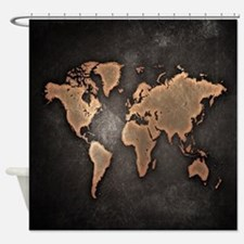 Vintage World Map Shower Curtain