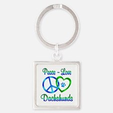 Peace Love Dachshunds Square Keychain