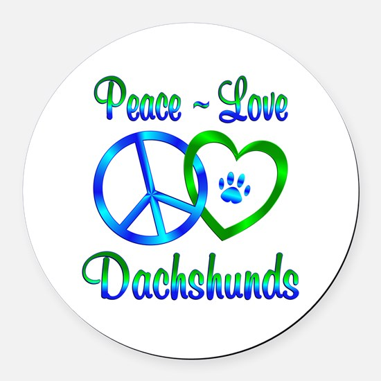 Peace Love Dachshunds Round Car Magnet