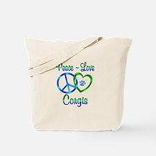 Peace Love Corgis Tote Bag