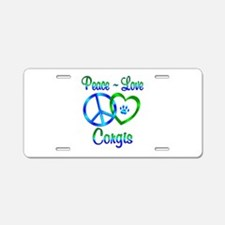 Peace Love Corgis Aluminum License Plate