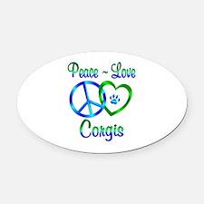 Peace Love Corgis Oval Car Magnet