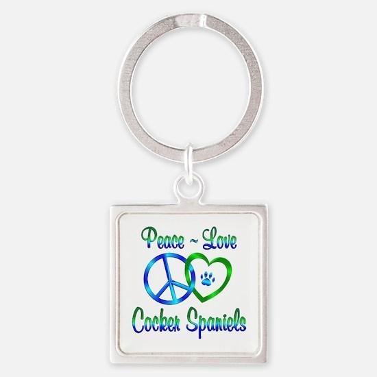 Peace Love Cocker Spaniels Square Keychain