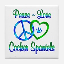 Peace Love Cocker Spaniels Tile Coaster