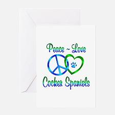 Peace Love Cocker Spaniels Greeting Card