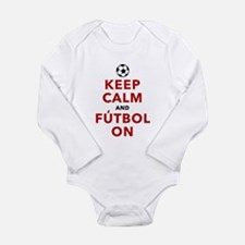 Keep Calm and Futbol O Long Sleeve Infant Bodysuit
