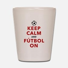 Keep Calm and Futbol On Shot Glass