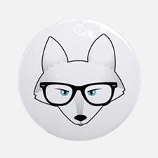 Cute Arctic Fox with Glasses Ornament (Round)