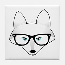 Cute Arctic Fox with Glasses Tile Coaster