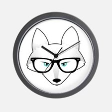 Cute Arctic Fox with Glasses Wall Clock