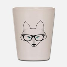 Cute Arctic Fox with Glasses Shot Glass