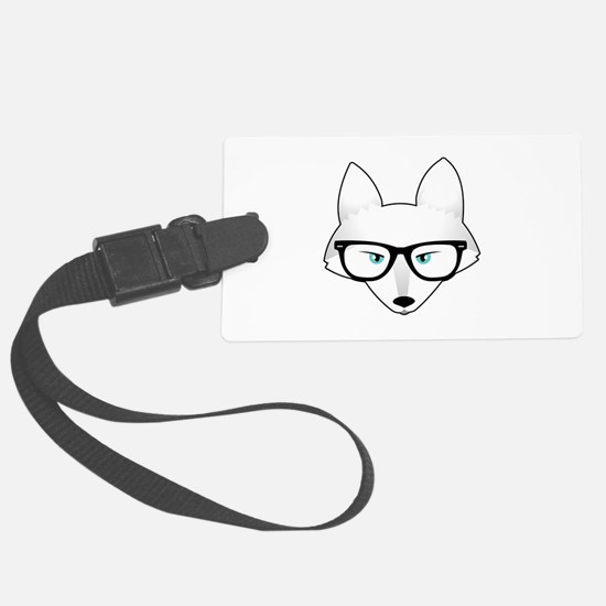 Cute Arctic Fox with Glasses Luggage Tag