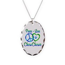 Peace Love Chow Chows Necklace Oval Charm