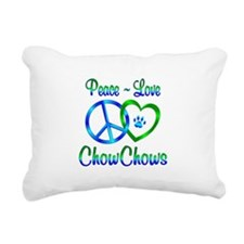 Peace Love Chow Chows Rectangular Canvas Pillow