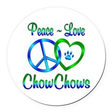 Peace Love Chow Chows Round Car Magnet