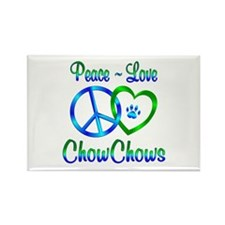 Peace Love Chow Chows Rectangle Magnet (100 pack)