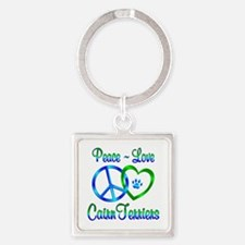 Peace Love Cairn Terriers Square Keychain