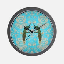 Vintage Peacock Antiqued Damask Swirl P Wall Clock