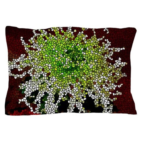 Stained Glass Chrysanthemum Flower Pillow Case