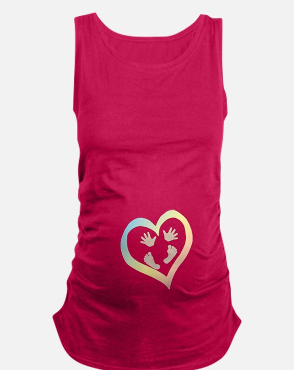 Baby Hands and Feet in Heart Maternity Tank Top