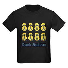 Autism Awareness Puzzle Ribbon Ducks Kids Dark T-S