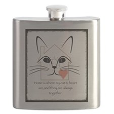 Cat and heart Flask