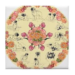 Leonberger Dogs Tile Coaster